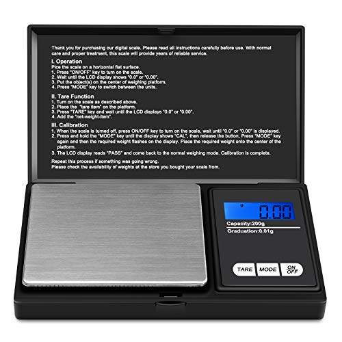 Ascher Digital Pocket Scale, 200g/0.01g Mini Scale 6 Units, LCD Backlit Display, Auto Off, Digital Grams Scale, Food Scale, Jewelry Scale (Battery Included )