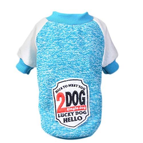 Amphia - Haustier Hund Pullover,Haustier-Hundewelpen-klassischer Strickjacke-Rundhalsausschnitt-Strickjacke kleidet Winter(XXL,Blau)
