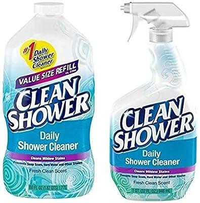 Clean Shower, Daily Shower Cleaner - No Scrub Bundle Pack [32oz. Spray Bottle & 60oz. Refill Bottle]