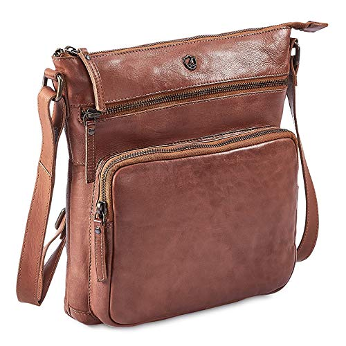 Cochoa Frauen Damen Vintage Echtes Leder Große Umhängetasche Ledertasche Handtasche (Cognac)