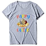 Yolmook T-Shirts Pâques Happy Easster Easter Summer Summer Print Manches Courtes col Rond Plus Size Top 2020(Medium,Gris)