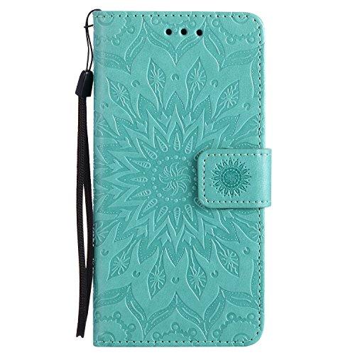 Lomogo Huawei P9 Hülle Leder Blumenprägung, Schutzhülle Brieftasche mit Kartenfach Klappbar Magnetverschluss Stoßfest Kratzfest Handyhülle Case für Huawei P9 - KATU22473 Grün