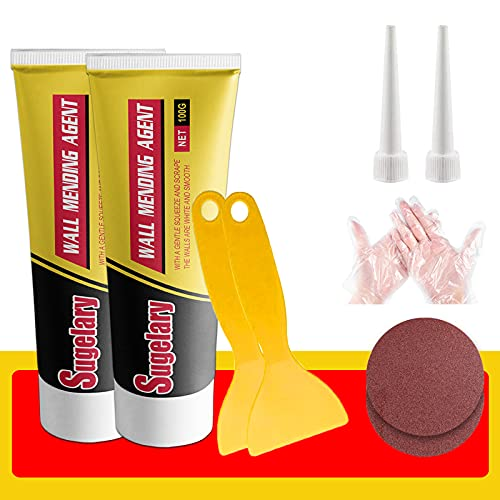 Drywall Patch Repair Kit with Spackle, Wall Repair Cream Paste, Wall Mending Agent Quick and Easy Solution to Fill The Holes for Home Wall, Plaster Dent Repair and Wood Scratch Repair(2 Pack)