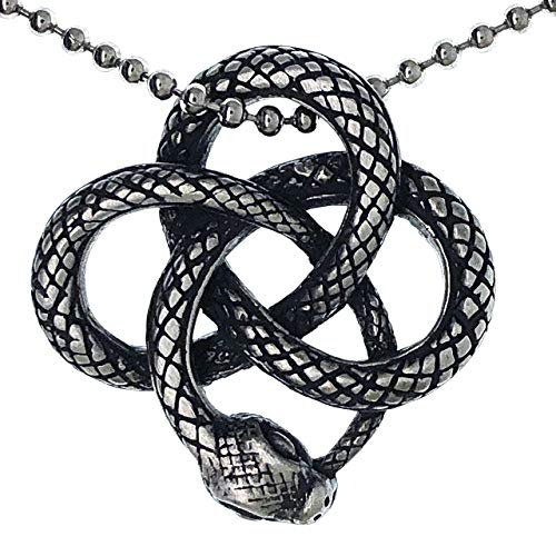 Snake Jewelry Celtic Knot Viper Cobra Norse Viking Magic Sea Serpent Dragon Wicca Protection Amulet pewter Unisex Women's Men's pendant necklace Charm for boys men women w Silver Ball Chain