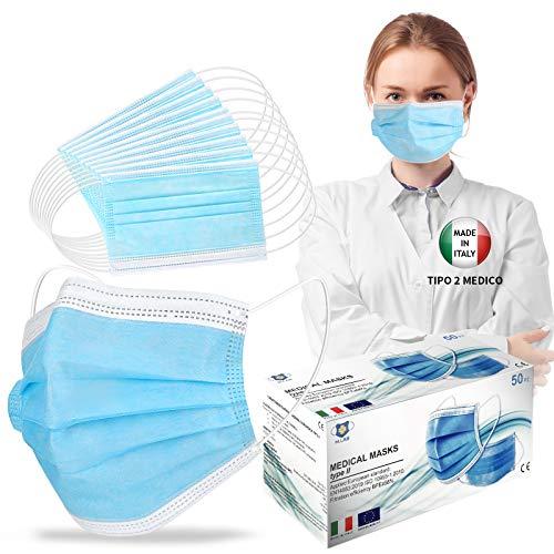 50 Stück Persönliche Schutzgurte, Typ 2 Medizinisch, verstellbare Nase, italienischer Lager, Lieferung 48 Stunden