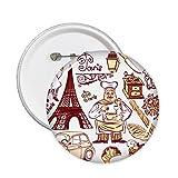 DIYthinker Cocina el cocinero Francia Marca famoso nacional Arquitectura Bandera paisaje personalizado ilustrado modelo alrededor del Pin Badge 5 x Botón XXL
