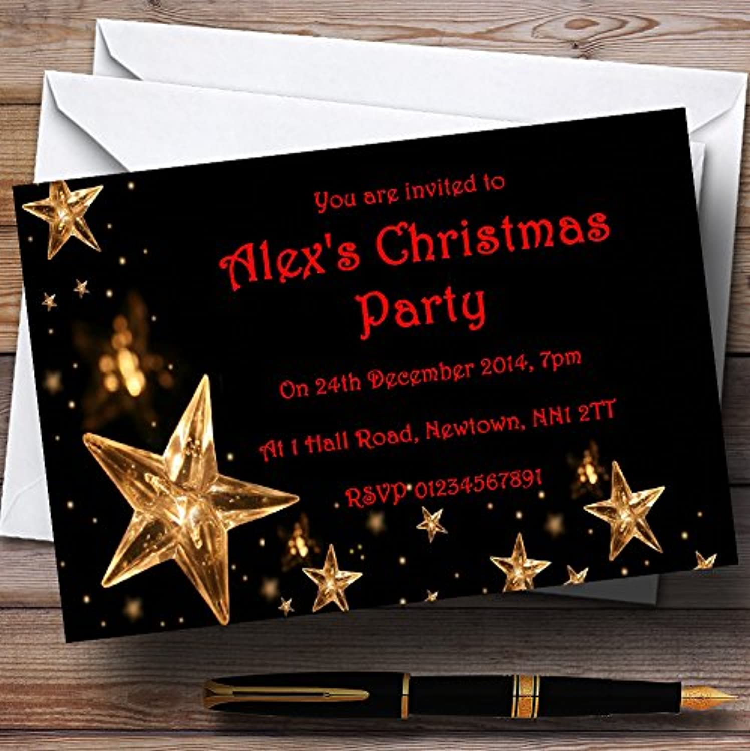 gold Stars Personalised Christmas   New Year   Holiday Party Invitations   Invites & Envelopes