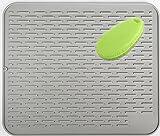 Extra grande 54x46cm, Alfombrilla Escurreplatos de Silicona Mat soporte de silicona, salvamanteles estera, impermeable, Con un cepillo de silicona multifuncional22x18 inch gris