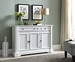 Kings Brand Furniture White Finish Wood Buffet Breakfront Cabinet Console Table With Storage, Drawers, Shelves. Add a simple yet elegant look to your room with this beautiful white buffet. Featuring three doors and two drawers, offers plenty of space...