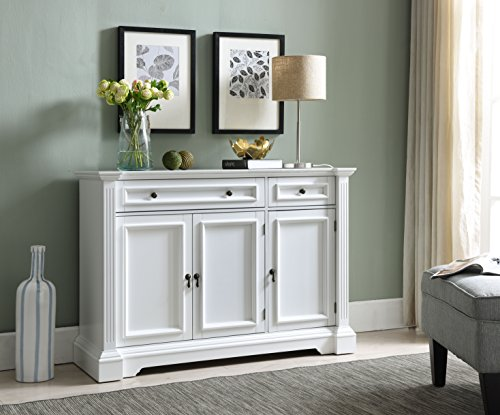 Mejor Costzon Kitchen Storage Sideboard Dining Buffet Server Cabinet Cupboard, Free Standing Storage Chest with 2 Level Cabinets and Open Shelf, Adjustable Middle Shelf for Home, Dining Room (White) crítica 2020