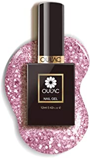Oulac Gel Nail Polish Glitter Rose Gold, Soak Off Gel Nail Art Design, 12ml (Requires Curing under UV/LED Lamp)