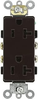 Leviton 16342 20-Amp, 125-Volt, Decora Plus Duplex Receptacle, Straight Blade, Commercial Grade, Self Grounding, Brown