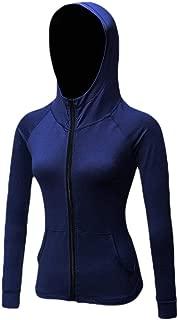 Macondoo Women's Fitness Coat Yoga Sweatshirt Sports Zipper Up Hooded Jackets