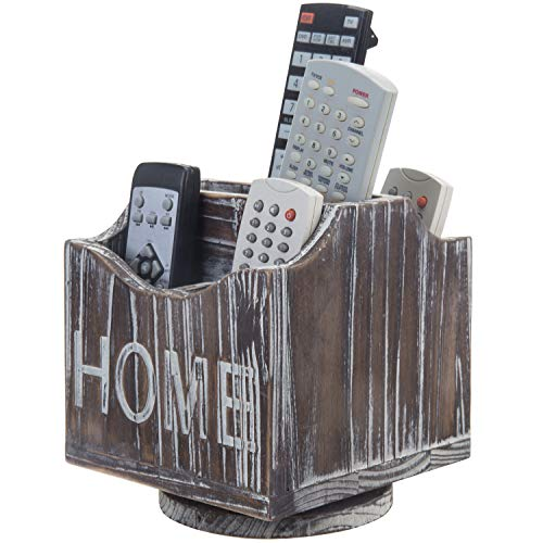 MyGift 5-Compartment Home 360-Degree Rotating Torched Wood Remote Control Holder Caddy