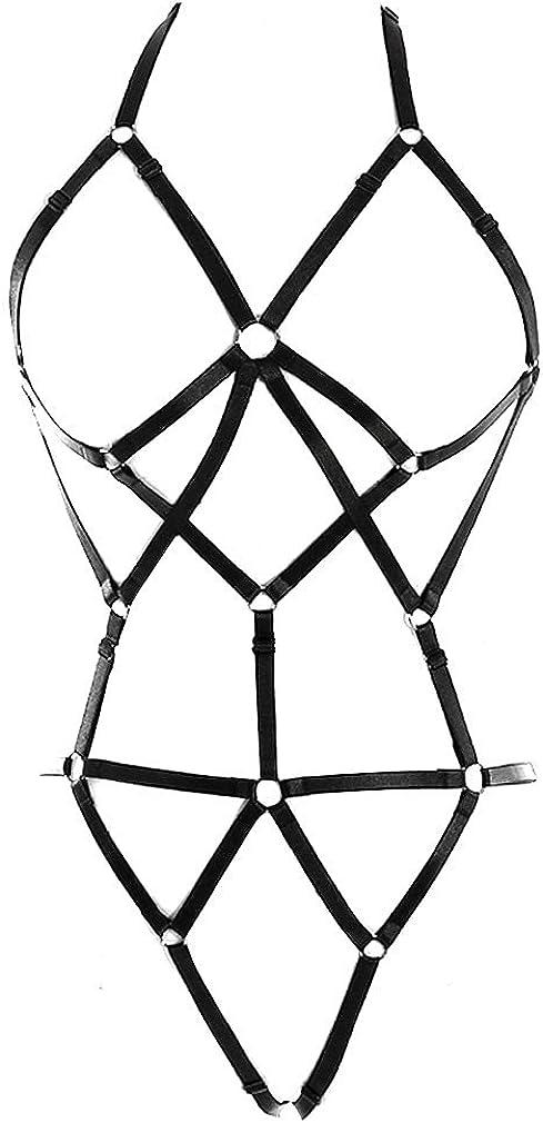 Full Body Harness Bra Women's Lingerie cage Set Punk Gothic Garter Belt Chest Strap Festival Rave Stretchy Fabric Plus Size