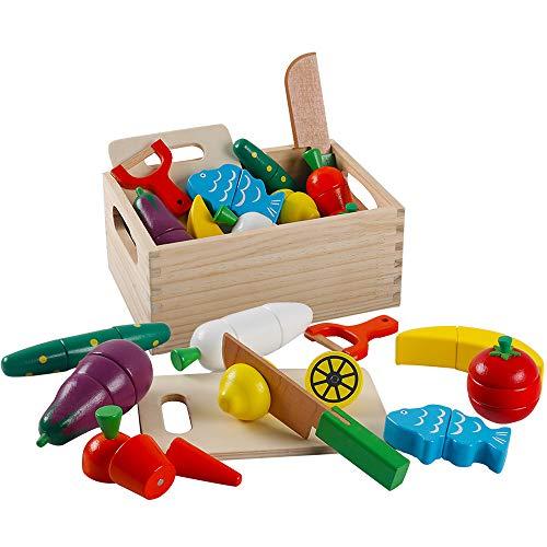 HVDHYY Holzspielzeug Holzernes Kuche Obst und Gemuse Magnetische Kuchenzubehor Spielzeug zum Schneiden Lebensmittel fur Jungen und Madchen Kinder 2 3 4 5 Jahre mit Holzbox als Geburtstag Geschenke