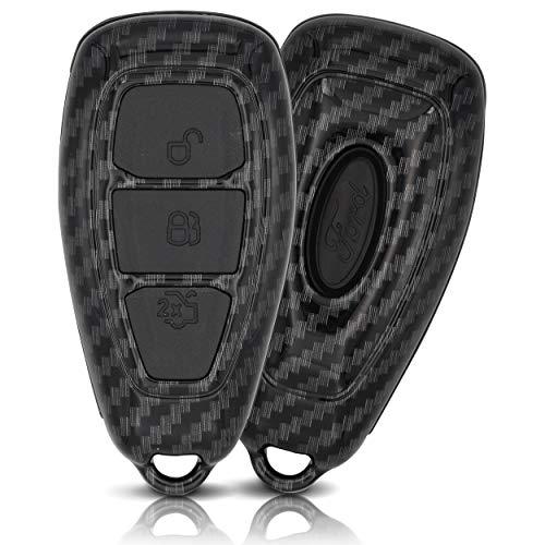 ASARAH Premium ABS Autoschlüssel Hülle kompatibel mit Ford - Edles Carbon Design mit Silikonschutz für Tasten - Carbon FD 3BKL