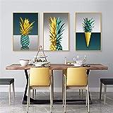 QZROOM Grüne goldene Ananas Wandkunst Malerei Poster