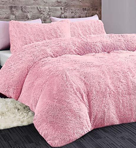 Shopylistic  LONG PILE DUVET SET FAUX FUR COSY FLUFFY DUVET COVER AND PILLOW CASE (Blush Pink, Double)