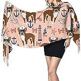 Bufanda grande para mujer Boston Terrier Anclas náuticas de verano Sensación suave de cachemira Chales de pashmina Envolturas