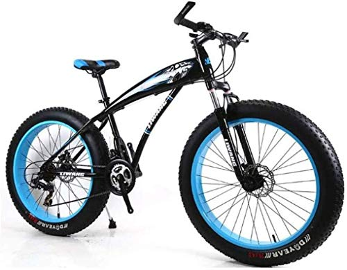 Wyyggnb Mountain Bike, Mountain Bike, Folding Bike Mountain Bike 21/24/27 Speeds Mens MTB Bike 24 Inch Fat Tire Road Bicycle Snow Bike Pedals with Disc Brakes and Suspension Fork
