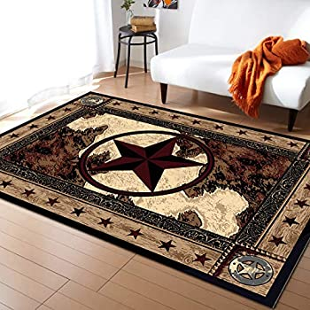 Advancey Area Rug Non-Skid Runner Rug Western Texas Star on Wood Panel Rustic Vintage Style Rug Floor Mat for Kitchen Porch Doormat Living Room,4 x6