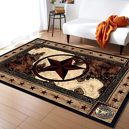 Advancey Area Rug Non-Skid Runner Rug Western Texas Star on Wood Panel Rustic Vintage Style Rug Floor Mat for Kitchen Porch Doormat Living Room,5'x8'