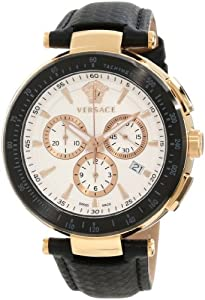 Versace Men's I8C80D001 S009 'Mystique' Rose Gold Ion-Plated Watch with Leather Band image