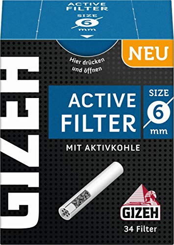 Gizeh Active Tips-Aktivkohlefilter mit Keramikkappen-10 x 34 Filter, Silber, smal