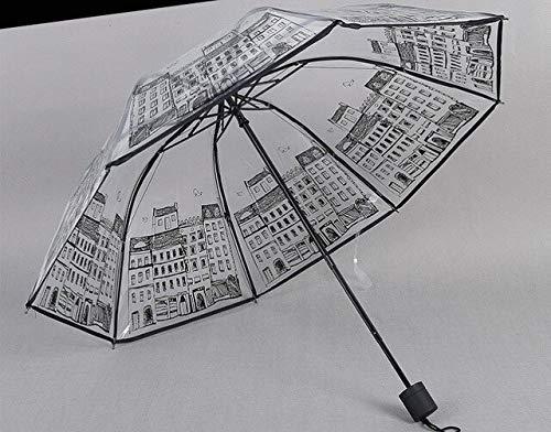 Mode Transparante Paraplu 3 Vouwen Paraplu Regen Vrouw Goedkope Kleine Verse Parasol