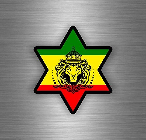 Akachafactory Autocollant Sticker Voiture Rasta Reggae One Love Lion Drapeau Jamaique ref19