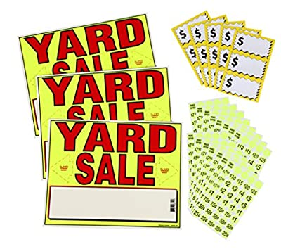 Sunburst Systems 4195 Yard Sale EZ Kit w/Direction Space, Repriced Stickers, Price Label Sheets, Neon Yellow
