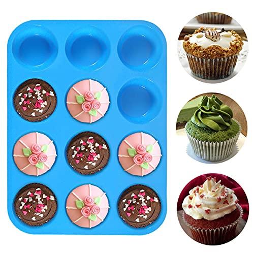 Geeke Stampo 12 Muffin,teglie riutilizzabili in Silicone per Muffin e Cupcake con Rivestimento Antiaderente Padella Antiaderente,Adatto per lavastoviglie, Forno e microonde.
