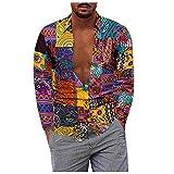 D-Rings Camisa de manga larga para hombre, estilo casual, talla grande, algodón y lino, manga larga, para el verano, para el tiempo libre, multicolor, XXXL