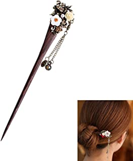 Frcolor Chinese hair sticks Stylish Wooden Traditional Flower Hairpin Tassels Hairpin Clip Hair Making Accessories