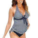 QinMM Tankini Traje de baño Mujer Maternidad Premamá para Mujer Punto Deportes Bañador de Dos Piezas Embarazada Bikini (Azul, XL)