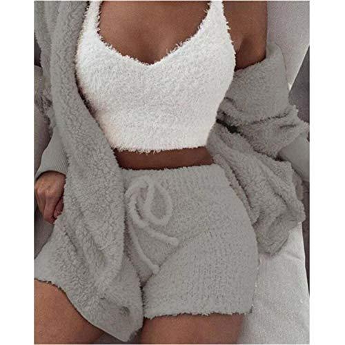 TQSDYY Conjunto De Pijama De Lana Coral para Mujer Primavera Otoño Invierno 3 Chaqueta con Pantalones Cortos Superiores De Tres Piezas