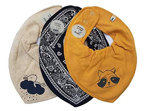 Pippi Baby Halstuch 3er Set Baby Halstücher Dreieckstücher Lätzchen (Waschbär + Hase sand)