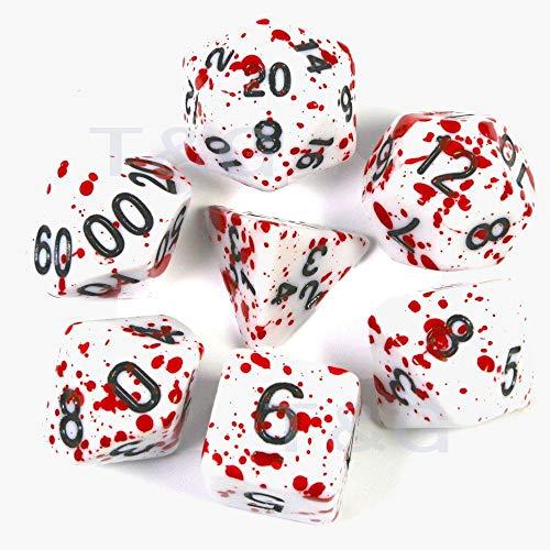 lonfenner Dadi,Impostare Poliedrica Trpg Giochi per Dungeons Dragons Opaco Lati più Pop di Dadi Giochi di Ruolo Bianco Inchiostro Rosso(3Pz)