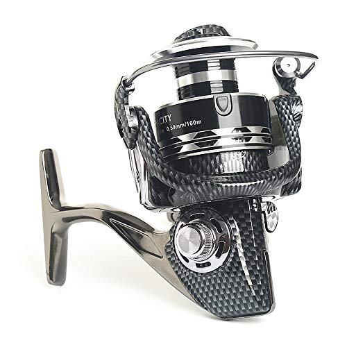 JFYCUICAN Caña de Pescar 12 + 1 BB Fishing Reel 5.2: 1 Relación de Engranajes High Speed ​​Spinning Reel Carp Fishing Carretes for Agua Salada (Color : Plata, Size : 10000)