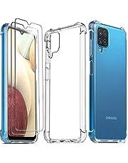 Ferilinso Cover per Samsung Galaxy A12 + 2 Pezzi Pellicola Protettiva Vetro Temperato [Transparente TPU Custodia] [10X Anti-Yellowing] [Anti-Antiurto] [Anti-Scratch] [9H Durezza]