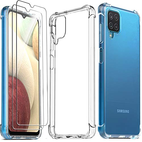 Ferilinso Funda para Samsung Galaxy A12 + 2 Piezas Cristal Templado Protector de Pantalla [Transparente TPU Carcasa] [10X Anti-Amarilleo] [Anti-Choque] [Anti-arañazos] [9H Dureza] [Fácil instalación]