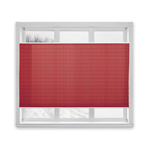 Floordirekt Plissee Rollo Magic | moderner Sichtschutz | Fensterrollo mit Klemmfix ohne Bohren | Klemmrollo | 7 Farben & viele Größen (100x200 cm, Dunkelrot)