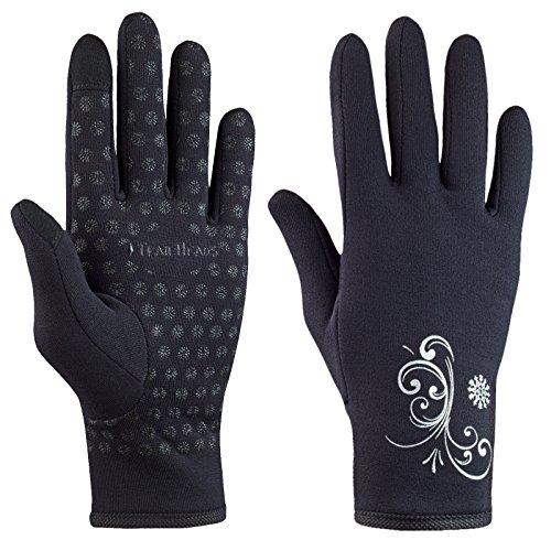TrailHeads Women's Running Gloves | Touchscreen Gloves | Power Stretch Winter Running Accessories - Black (Small)
