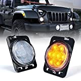 Xprite LED Amber Front Fender Side Marker Light Assembly with Clear Lens Compatible with Jeep Wrangler JK Unlimited 2007-2018