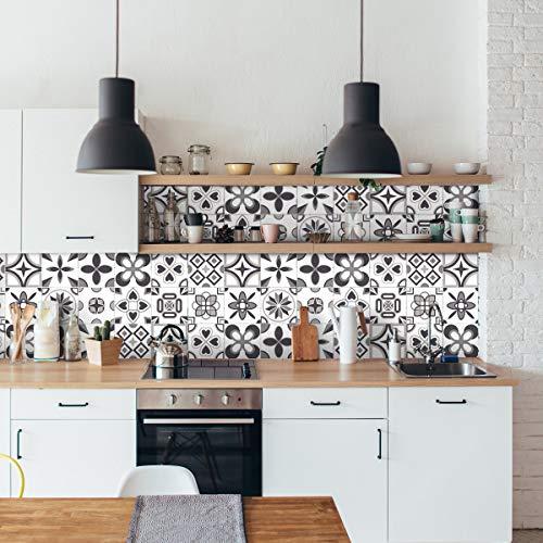 Pegatinas de pared de cocina – Azulejos de cemento adhesivo para pared – Pegatinas de azulejos adhesivos de pared para cuarto de baño 10 x 10 cm – 24 azulejos de cemento adhesivos Erico