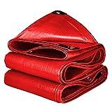 Lona Impermeable Exterior, [160 G/M²] Lona De Protección Esistente Desgarro De PE Rojo con Ojales para Muebles De Jardín/Piscina/Coche/Camión, Customizable,2x6m