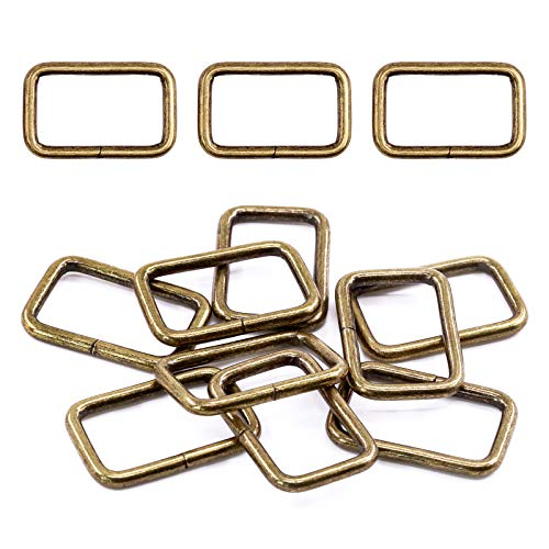 Swpeet 60Pcs 5/4 Inch - 32mm Bronze Metal Rectangle Ring, Webbing Belts Buckle Metal Rings for for Belt Bags DIY Accessories Keychains Belts and Dog Leash (Bronze, 5/4 Inch)