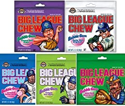 Big League Chew Bubble Gum Variety Pack 5 Great Flavors With Cotton Candy, Sour Apple, Grape, Original, & Watermelon