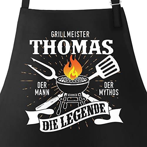 MoonWorks® Grill-Schürze mit Spruch personalisierbar personalisierbar Grillmeister [Wunschname] der Mann, der Mytos, die Legende schwarz Unisize